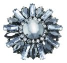 Burnished Silver & Crystal Daisy Large Brooch