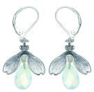 Blossoms - Silver & White Opal Drop Earrings on French Wire