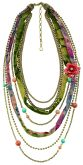 Brazilian Beat - Gold & Multi-coloured ribbon necklace 18