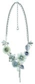 Summers Foliage - Silver, Grey & White Flower & Bee Necklace - 14