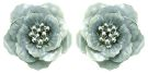 Summers Foliage - Silver Grey Flower Petal Earrings