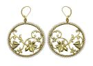 Festive Folklore filigree circle earrings gold/cream natural