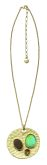 Sahara Desert Gold/Turq+Brown disc pendant necklace on chain
