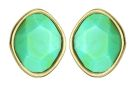 Sahara Desert Gold/Turq single stone stud earrings