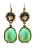 Sahara Desert Gold/Turq+Brown 2-stone drop earrings