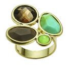 Sahara Desert Gold/Turq+Brown 4-stone adjustable ring