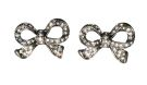 Dark Pewter Diamante Bow Stud Earrings