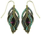 Multi-coloured Peacock Feather Drop Wire Earrings