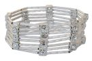 Worn Silver and Square Crystal Stretch Bracelet