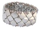 Burnished and Shiney Rhodium Squares Bracelet