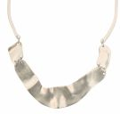 Worn Silver Sculpted Collar Necklace