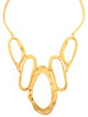 Brushed Gold Sculptured Link Necklace