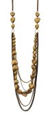 Light Burnished Gold Multi-chains & Hearts Necklace