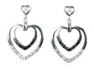 B/W CZ Hearts Earrings