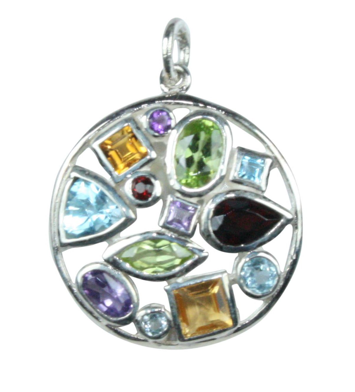 Silver & Mix Crystal Multi-Stone Pendant