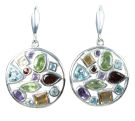 Silver & Mix Crystal Multi-Stone Earrings