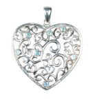 Silver Heart Pendant with Blue Crystals