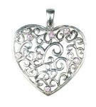 Silver Heart Pendant with Pink Crystal