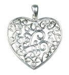 Silver Heart Pendant with White Crystal