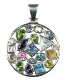 Silver & Mix Crystal Multi-Stone Pendant - Large