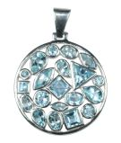 Silver & Blue Crystal Multi-Stone Pendant - Large