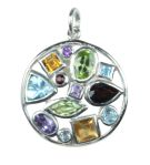 Silver & Mix Crystal Multi-Stone Pendant - Small