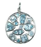 Silver & Blue Crystal Multi-Stone Pendant - Small