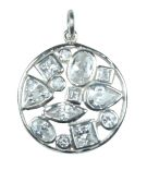 Silver & White Crystal Multi-Stone Pendant - Small