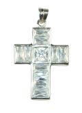 Silver & Crystal Crucifix Pendant